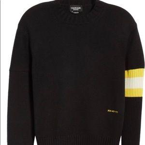 Calvin klein 100% Cashmere Stripe Sleeve Sweater M